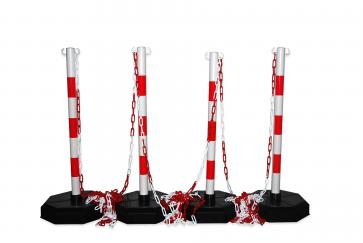 Avspärrningspaket -Robust-, 4st Plaststolpar inkl. 25m kedja (Röd/Vit)