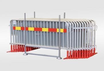 Kravallstaket Standard Paket i transportkorg (Plattfot - 57,5m)